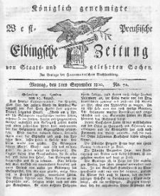 Elbingsche Zeitung, No. 72 Montag, 8 September 1800