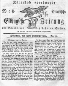 Elbingsche Zeitung, No. 75 Donnerstag, 18 September 1800