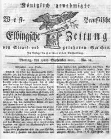 Elbingsche Zeitung, No. 78 Montag, 29 September 1800