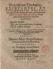 Propositiones Theologicae, Repetentes et confirmantes doctrinam orthodoxam Responsionum, quae scriptae sunt a D. Philippo Melanthone...