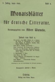 Monatsblätter für deutsche Litteratur, Jg. 5, H. 4.