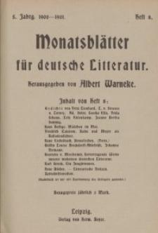 Monatsblätter für deutsche Litteratur, Jg. 5, H. 8.
