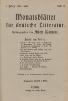 Monatsblätter für deutsche Litteratur, Jg. 5, H. 12.
