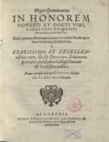Elegia gratulatoria in honorem honesti et docti viri, D. Iohannes Hofmanni Dunckelbühlensis...