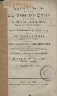 Bericht über die St. Johannis-Schule, 1829
