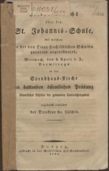 Bericht über die St. Johannis-Schule, 1833