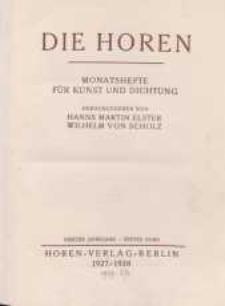 Die Horen, 1927-1928, T. 4 , cz.1