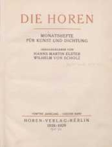 Die Horen, 1928-1929, T. 5, cz. 2