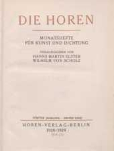 Die Horen, 1928-1929, T. 5, cz.1