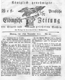 Elbingsche Zeitung, No. 92 Montag, 17 November 1800
