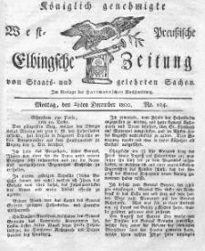 Elbingsche Zeitung, No. 104 Montag, 29 Dezember 1800
