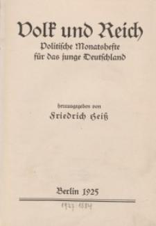 Volk und Reich. Politische Monatshefte für das junge Deutschland, 1925