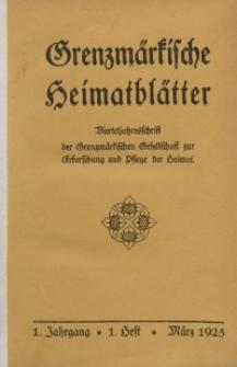 Grenzmärkische Heimatblätter, 1925-1926