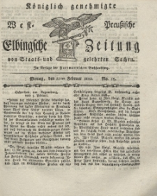 Elbingsche Zeitung, No. 15 Montag, 22 Februar 1802