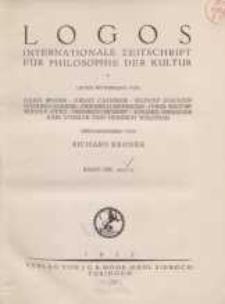 Logos internationale Zeitschrift für Philosophie der Kultur, XIII. Jahrgang, 1924/25, H. 1-3