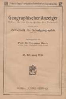 Geographischer Anzeiger: Blätter für den Geographischen Unterricht vereinigt mit der Zeitschrift für Schulgeographie, 25. Jahrgang, 1924