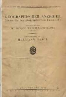 Geographischer Anzeiger: Blätter für den Geographischen Unterricht vereinigt mit der Zeitschrift für Schulgeographie, 28. Jahrgang, 1927