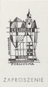 Wojewódzka Biblioteka Publiczna w Elblągu - zaproszenie (z ekslibrisem)