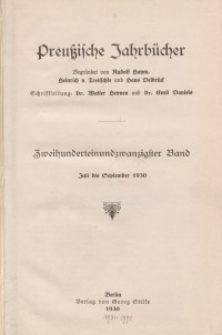 Preußische Jahrbücher, 1930, Bd 221/222.