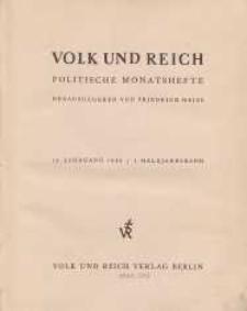 Volk und Reich. Politische Monatshefte für das junge Deutschland, 1940, Bd. 1.