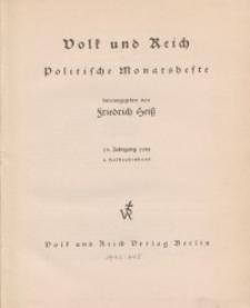 Volk und Reich. Politische Monatshefte für das junge Deutschland, 1939, Bd. 2.