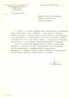 Urząd Wojewódzki Wydziału Kultury i Sztuki – pismo do Dyrektora Teatru Dramatycznego w Elblągu