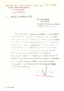 Wydział Kultury i Sztuki Urzędu Wojewódzkiego w Elblągu – pismo do Dyrektora Naczelnego Teatru Dramatycznego w Elblągu