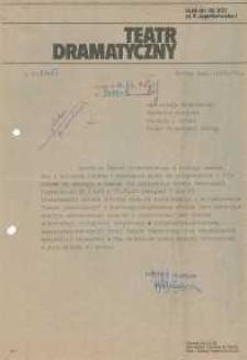 Teatr Dramatyczny w Elblągu – pismo do WKiS UW w Elblągu (finanse)