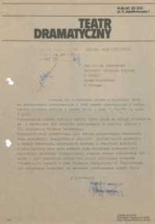 Teatr Dramatyczny w Elblągu – pismo do Dyrekcji WKiS UW w Elblągu (finanse)