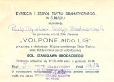 Volpone albo lis – zaproszenie na spektakl teatralny