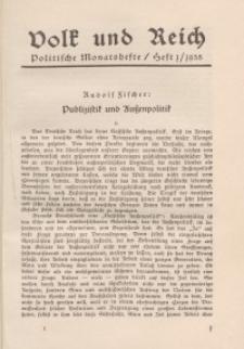 Volk und Reich. Politische Monatshefte für das junge Deutschland, 1935, Bd. 1.