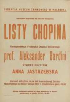 Listy Chopina – afisz zwiastujący wieczór muzyczny
