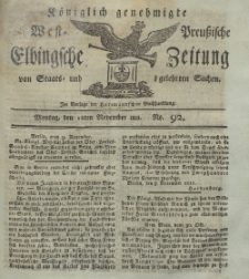 Elbingsche Zeitung, No. 92 Montag, 18 November 1811