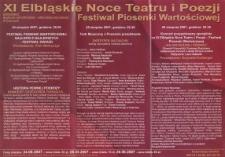 XI Elbląskie Noce Teatru i Poezji - Festiwal Piosenki Wartościowej - program teatralny