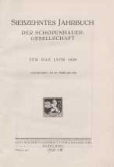 Siebzehntes Jahrbuch der Schopenhauer-Gesellscht für das Jahr 1930