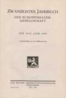 Zwanzigstes Jahrbuch der Schopenhauer-Gesellschaft für das Jahr 12932