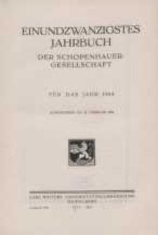 Einundzwanzigstes Jahrbuch der Schopenhauer-Gesellschaft für das Jahr 1934