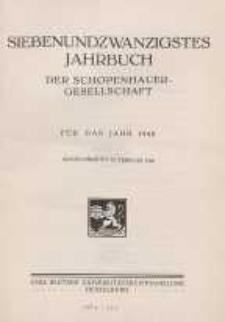 Siebenundzwanzigstes Jahrbuch der Schopenhauer-Gesellschaft für das Jahr 1940
