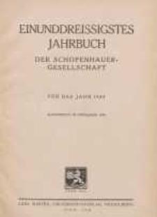 Einunddreissigstes Jahrbuch der Schopenhauer-Gesellschaft für das Jahr 1944