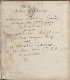 Actus Oratorius in memoriam natalium Gymnasii Elbingensis...