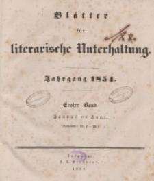 Blätter für literarische Unterhaltung, 1854, Bd. 1.