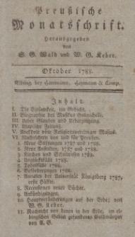 Preußische Monatsschrift, Oktober 1788