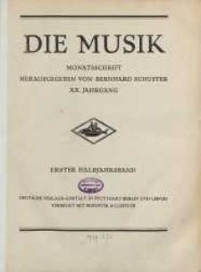 Die Musik : Monatsschrift, 1927/1928, Jg. XX.