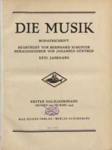 Die Musik : Monatsschrift, 1931, Jg. XXVI.