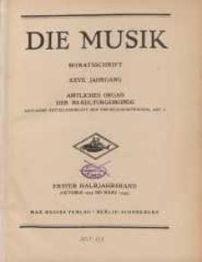Die Musik : Monatsschrift, 1934/1935, Jg. XXVII.