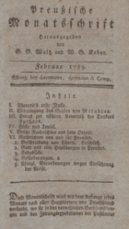 Preußische Monatsschrift, Februar 1789