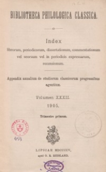 Bibliotheca Philologica Classica : index, Jg.1905, Bd.32.