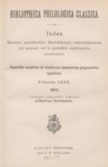 Bibliotheca Philologica Classica : index, Jg.1913, Bd.40.
