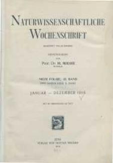 Naturwissenschaftliche Wochenschrift, 1916