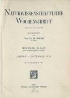 Naturwissenschaftliche Wochenschrift, 1922